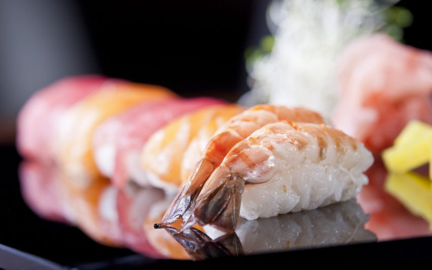 Sushi nigiri with shrimps