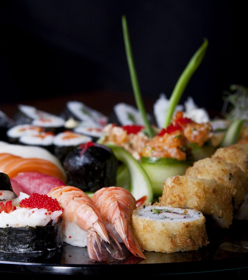 Sushi set with rolls and seafood